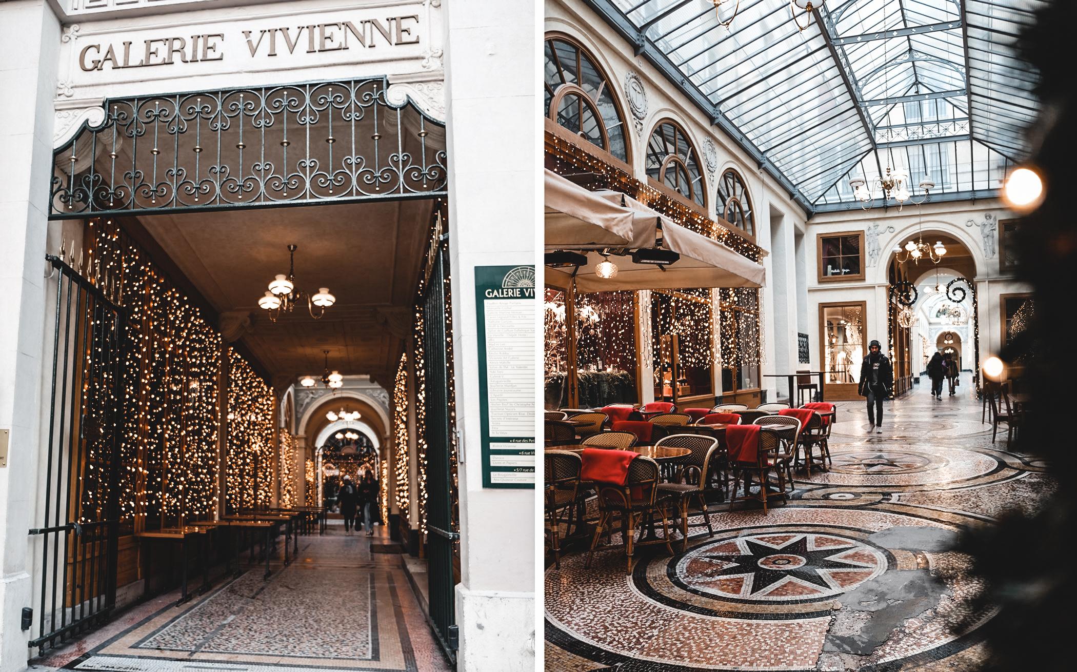 Galerie Vivienne. Parcours de Noël  à paris. Les plus belles places à voir pendant la période des fêtes