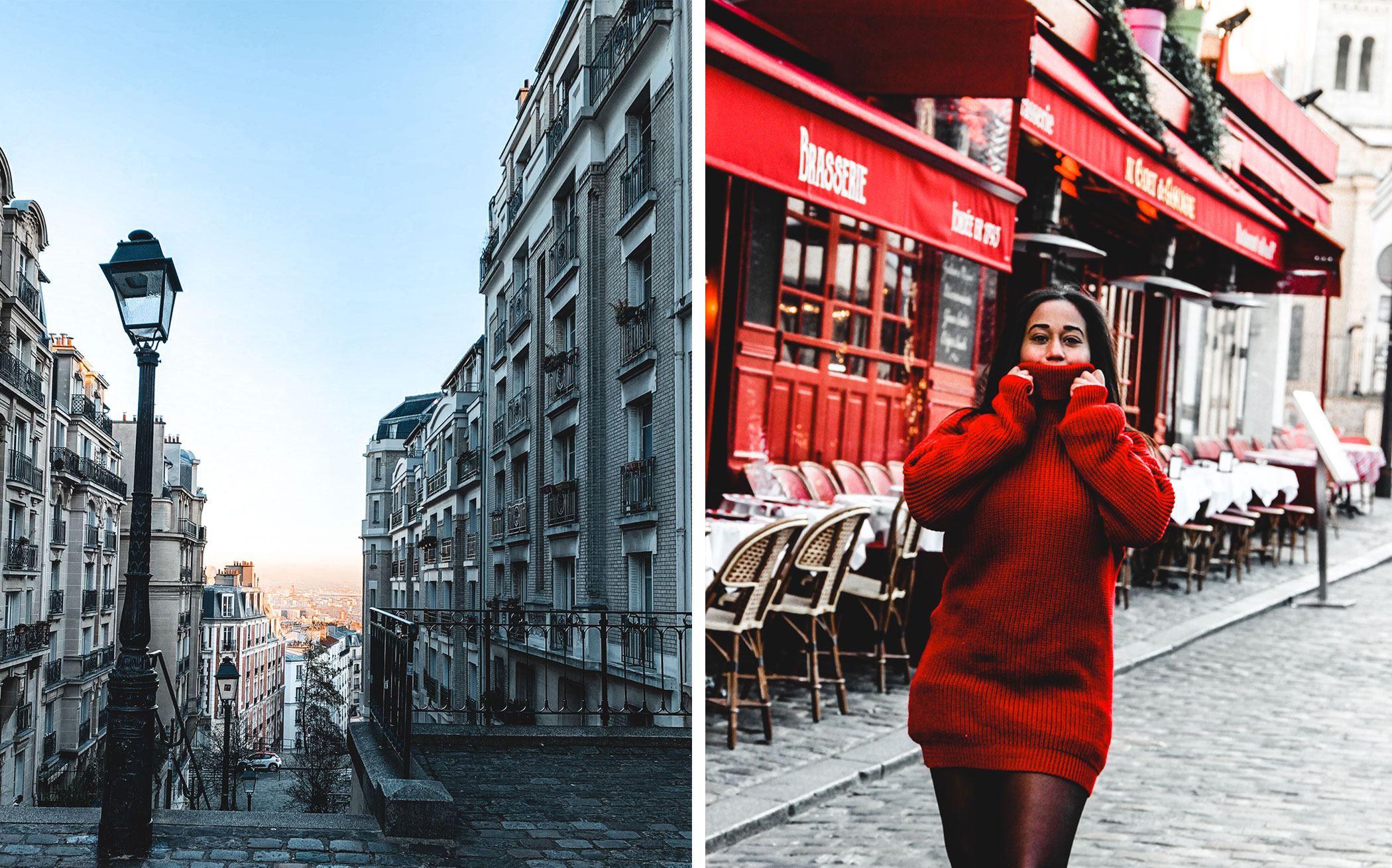 "Girl walking at Montmartre, Paris France behind a red restaurant wearing a red dress and Timberland shoes. Slow travel, the art of taking your time. It is the art of taking your time, leaving room for chance and the unknown, far from all organized, mapped out routes. A way of saying ""look, everything is in front of you, go ahead and let the magic come to you. My best advice, don't forget to lose yourself. Travel story of a creative entrepreneur freelance. Let's read it!"