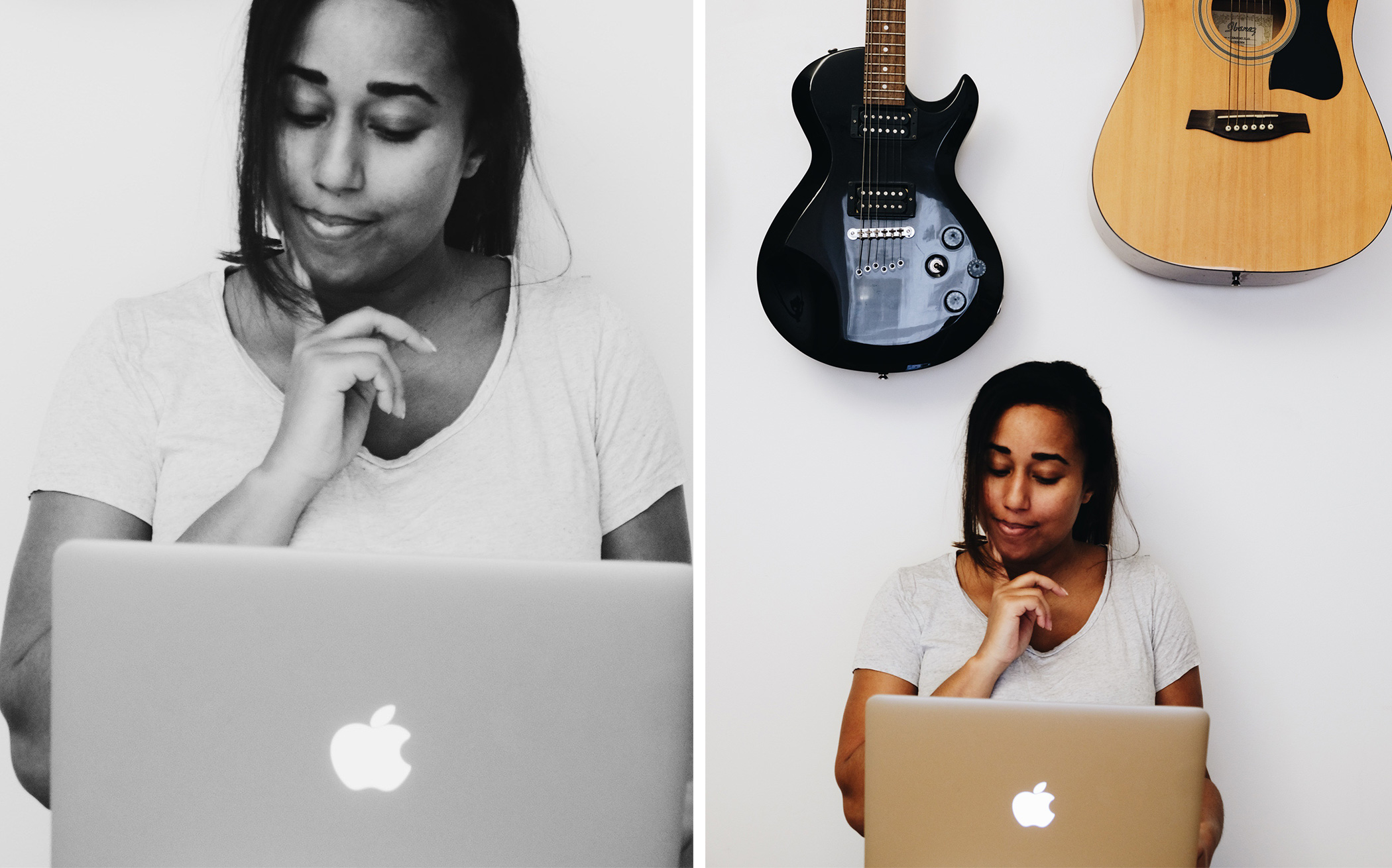 Working girl with hat, who create content for social media using app for mobile and desktop. Later, Pinterest, Instagram, Tailwind. Share her tips for a better content.